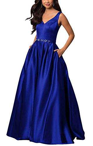 yinyyinhs Women's V Neck Prom Dresses A Line Long Beaded Evening Formal Gowns with Pockets Size 20 Royal Blue