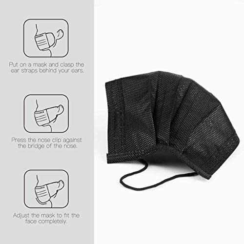 50 Pack Black Disposable Face Masks - Unisex Oral Protection Black Mask - 3 Ply Protectors with Elastic Earloops - Non Woven, Single Use - Effective Filtration