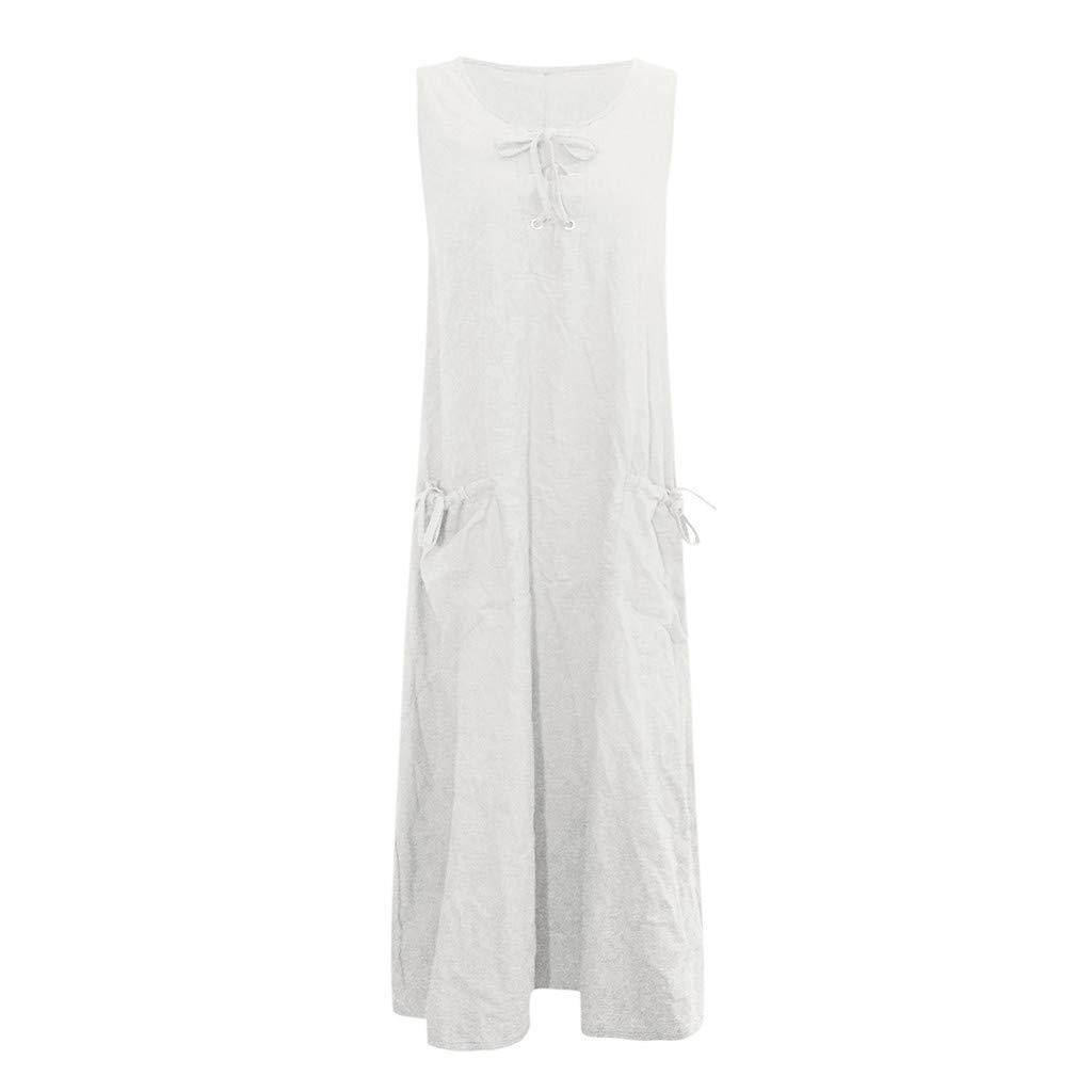 Nuewofally Women's Maxi Dress Casual Bandage Dress Summer Solid Sleeveless Long Dress Fashion Sundress White