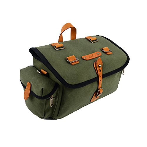 Surly Touring Bike - Zimbale Bicycle Waterproof Canvas Saddlebag - 7 Liter Capacity - 10.6 X 7.19 X 5.9 (inch) - Green