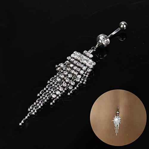 Dance Dangle (Black Friday Sale GreatFun Rhinestone Long Tassel Navel Dangle Button Belly Ring Bar Body Piercing Jewelry for Party Dance Show)