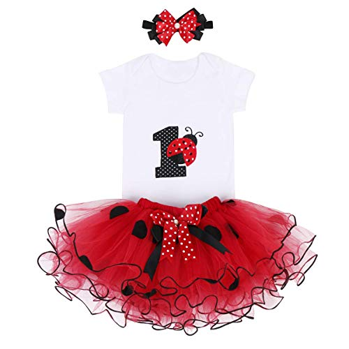 It's My First 1st Birthday Outfit Baby Girls Ladybug Romper + Ruffle Tulle Skirt + Polka Dot Bowknot Headband Shiny Party Princess Dress up Costume for Cake Smash Photo Shoot Fall Clothes Red 1 Year
