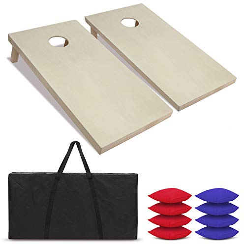 ZENY Portable Solid Wood Cornhole Bean Bag Toss Game Set Regulation Size 4ft x 2ft Cornhole Boards & 8 Bags Playset Backyard Lawn Corn Hole Outdoor Game - Stained Wood Solid