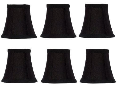 Silk Shades Chandelier Black (Upgradelights Set of Six Black Silk with Gold Lining Bell Shade Chandelier Lamp Shade Mini Clip on Shade 4'')