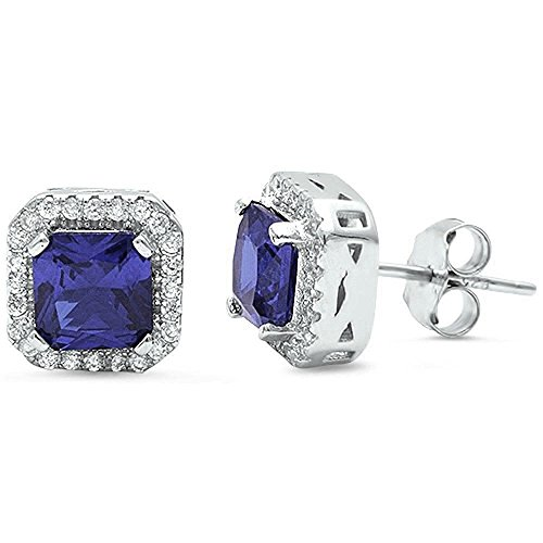 Princess Cut Simulated Tanzanite & Cubic Zirconia .925 Sterling Silver Earring