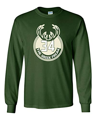 Long Sleeve Green Milwaukee Giannis Greek Logo T-Shirt Adult
