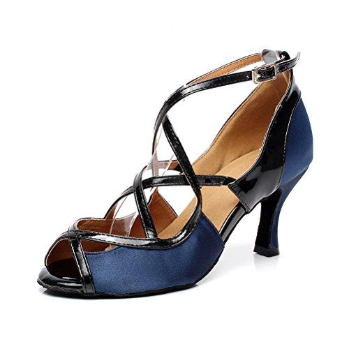 BCLN Womens Open toe Sandals Latin Salsa Tango Heels Practice Ballroom Dance Shoes with 2.75 Heel 0x2AjG