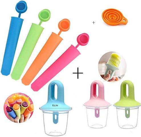 Jsmhh Stieleis Moulds Set von 7 Babys und Kinder Silikon-Plastik Popsicle Mold Set Sicher und niedrige Temperaturbeständigkeit mit freier Silikon-Funnel