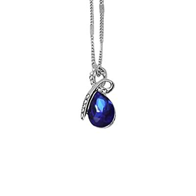 Charm Necklace, Dainty Sterling Silver Love Infinity Pendant Crystals Birthstone Jewelry for Women Birthday Gifts (Blue): Jewelry