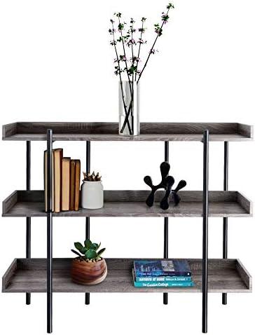 Zenvida Modern Bookcase Industrial 3 Tier Open Metal Etagere Freestanding Bookshelf