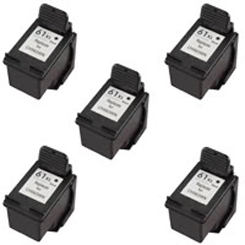 Amsahr 61XLBK(CH563WN) Remanufactured Replacement HP Ink Cartridges for Select Printers/Faxes with 5 Black Cartridges