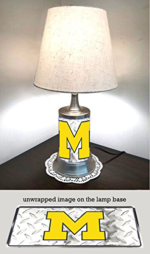 JS Table Lamp with Shade, Michigan Wolverines Plate Rolled in on The lamp Base, Base Wrapped with Diamond Metal Plate ()