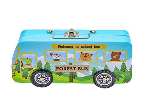 Jiada Forest Bus School Bus Shape Metal Pencil Box with Dual Compartment