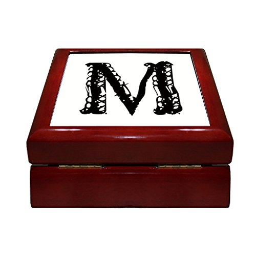 Initial Tile Box (Style in Print M Lace Trim Initial Monogram Letter M 4