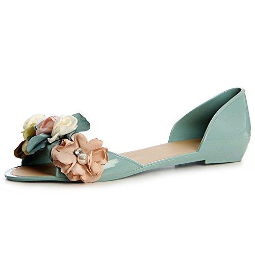 Femmes Sandales topschuhe24 Bleu Sandalettes Petrol zXdqqxn75w