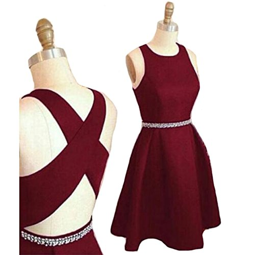 Back Simple Jazylynbride Cross Chiffon Burgundy Criss A With Homecoming Beading Short Dress Line Prrxdq