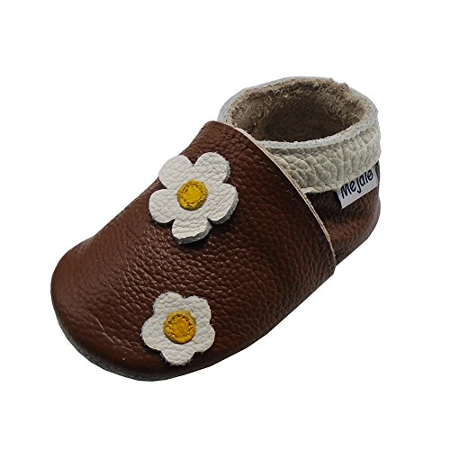 Mejale Baby Shoes Soft Sole Leather Crawling Moccasins Cartoon Flowers Infant Toddler First Walker Slippers(12-18 Months, brown)