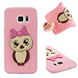 BONROY TPU Silicone Case for Samsung Galaxy S7 - Soft Flexible Rubber Protective Cover-Female Owl - Pink
