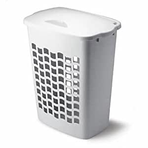 Rubbermaid inc 2656 tp wht white plastic laundry hamper single hamper home kitchen - Plastic hamper with lid ...