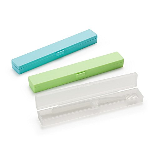 2 Pack Eunion Plastic Toothbrush Holder//Case for Travel Clear White