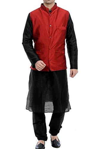 Royal Kurta Men's Silk Blend Kurta Pyjama Nehru Jacket Set 38 Black-Red by Royal Kurta