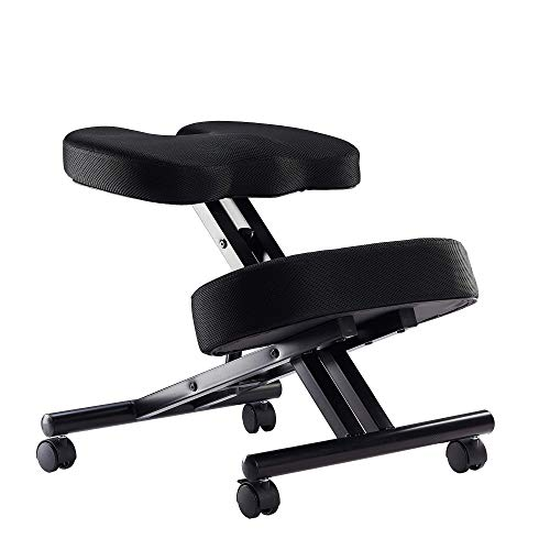 Kneeling Chair with Orthopedic Back Pain Seat, Helps Prevent Coccyx Pain, Kneeling Chair for Better Posture. (Fabric, Manual Adjust)
