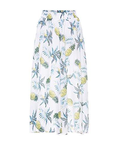 Geckoistail Women's Long Pineapple Print Maxi Cotton Polka Long Vintage Skirts (C005White-XL)