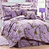 Realtree AP Lavender Camo 8 Pc Queen Comforter Set (Comforter, 1 Flat Sheet, 1 Fitted Sheet, 2 Pillow Cases, 2 Shams, 1 Bedskirt) SAVE BIG ON BUNDLING!