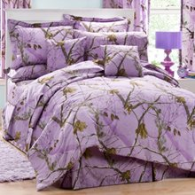 Realtree AP Lavender Camo 8 Pc Queen Comforter Set