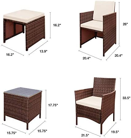FURNIWELL 7 PIECE WICKER PATIO FURNITURE SET OUTDOOR PATIO CONVERSATION SET RATTAN ALL WEATHER CUSHIONED CHAIRS WITH OTTOMAN &GLASS SIDE TABLE FOR BALCONY PORCH BACKYARD GARDEN POOLSIDE (BEIGE)