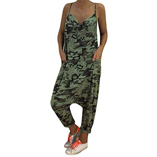 - Thenxin Women Camouflage Overalls Tie Straps Dungarees Harem Pants Baggy Long Casual Jumpsuit(Green,S)