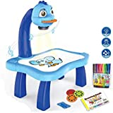 Kids Christmas Gifts New Year Gifts For Boys , Children Educational Painting Art Projector Kids Toy Fun Desk Drawing Set with 24 Patterns (Blue)