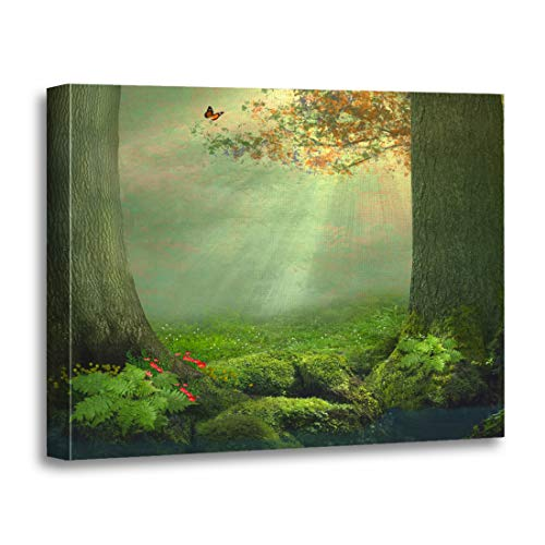 Tinmun Painting Canvas Artwork Wooden Frame Pond and Two Big Trees in The Forest Beautiful 16x20 inches Decorative Home Wall Art -