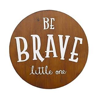 NoJo Be Brave Little One Tan & White Round Wood Nursery Wall Decor, Tan, White