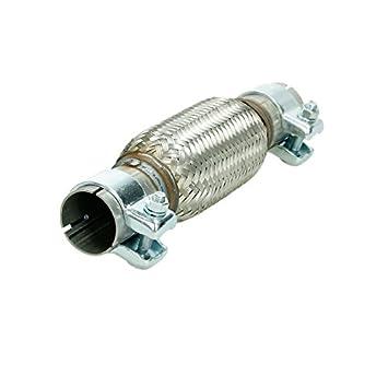 ECD Germany Universal Flexrohr Edelstahl Interlock 45 x 280 mm mit 2 Schellen Montage ohne Schweiß en Flexstü ck Wellrohr Hosenrohr Flexibles Rohr