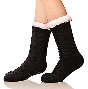 SDBING Women's Winter Super Soft Warm Cozy Fuzzy Fleece-lined Christmas Gift With Grippers Slipper Socks (Black)