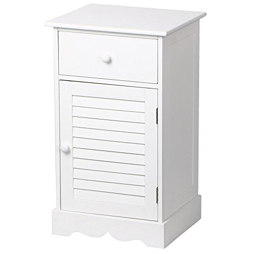 go2buy Night Stand/Accent Table Sofa Bed Side End Table with Slider Storage Drawer and Cupboard Units Adjustable Height Shelf in (Side Cupboard)