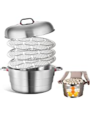Large- capacity steamer with lid stainless steel commercial hotel for cookingstainless steel steamer (Size : 55CM)