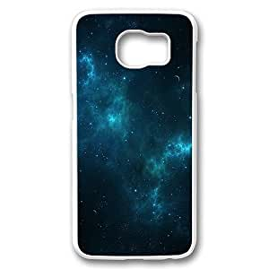 Samsung Galaxy S6 Case Cover,Deep Blue Space Custom Designer Hard Shell Case for Samsung Galaxy S6 White