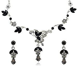 Black Diamond Color Crystal Teardrop Rhinestone Flower Necklace and Earrings Jewelry Set [Bridal Jewelry]