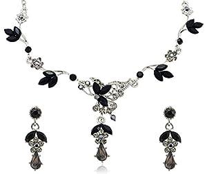 Black Diamond Color Crystal Teardrop Rhinestone Flower Necklace and Earrings Jewelry Set [Bridal Jewelry]