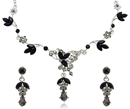 Black Diamond Color Crystal Teardrop Rhinestone Flower Necklace and Earrings Jewelry Set [Bridal
