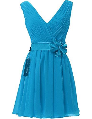 Prom Dress Flower JAEDEN with Short Pleat V Gown Neck Blue Chiffon Bridesmaid RwqxEqC8