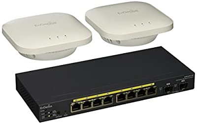 EnGenius 8 Gigabit 802.3af PoE Port Layer 2 Managed Switch, 2 SFP Ports, 61.6W PoE Budget with Centralized Network Management, Included 2 EWS300AP [Two EWS300 + One EWS2910P] (EWS2910P-KIT-300)