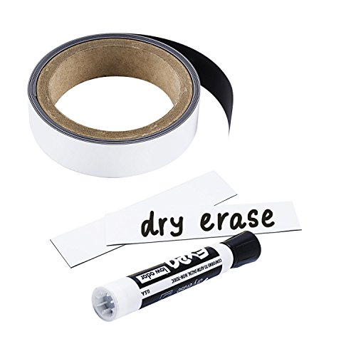 (Houseables Write On Magnets Roll, Dry Erase Magnetic Strip, Glossy White, 1 Inch Wide x 25' Long, Wipe Off Labels, Magnetically Receptive Whiteboard Sheet, Board Magnet, for Home, Office)