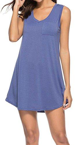 Grande Tang Des Femmes De Réservoir Robe Solide Manches Casual Mini Robe Une Ligne Violette Robe D'été