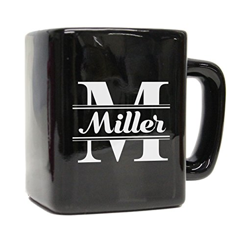Custom Engraved Ceramic Square 8oz Coffee Mug for Men, Women, Friends, Husband, Wife - Personalized Coffee Cup Gift (Black) ()
