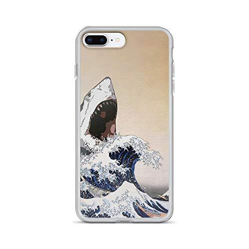 (iPhone 7 Plus/8 Plus Pure Clear Case Cases Cover White Shark Edo Folk Illustration Style)