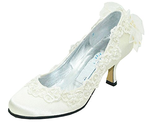 Toe Bridal Round Kitten MZ588 Minitoo Ivory Bowknot Pumps Heel Satin Womens q0atxwU