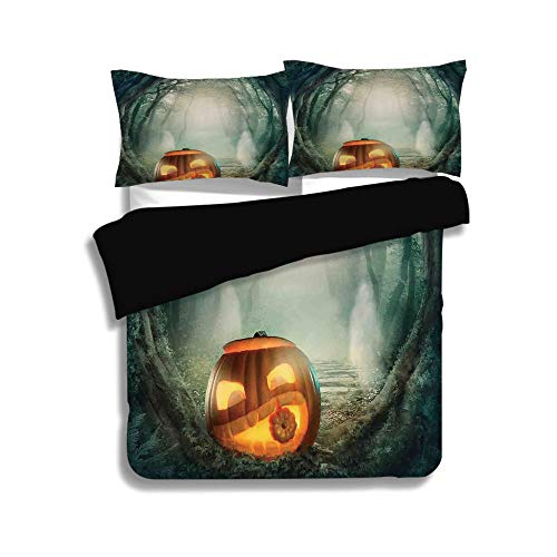 iPrint Black Duvet Cover Set Twin Size,Halloween Decorations,Scary Halloween Pumpkin Enchanted Forest Mystic Twilight Party Art,Orange Teal,Decorative 3 Pcs Bedding Set by 2 Pillow Shams
